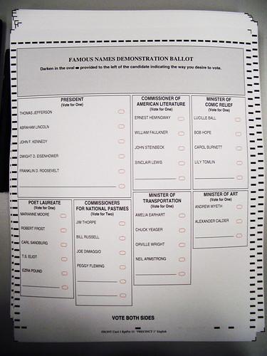 Cédula de votação ilustrativa