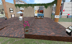 Our studio in the courtyard cafe at our SL5B build!
