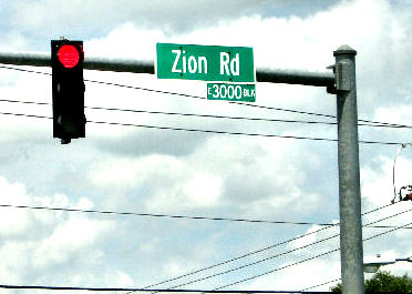 Zion Road Sign