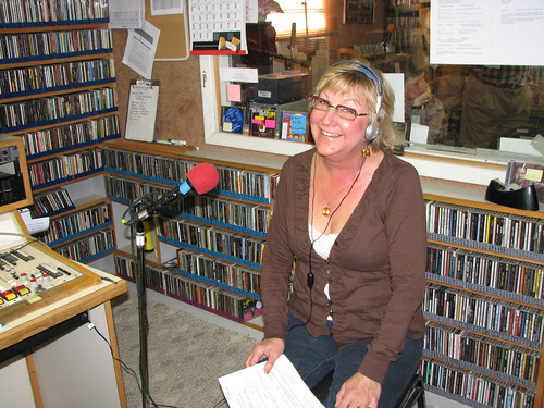 Susan Landers pulling in the pledges inside KSUT studios