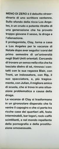 Bret Easton Ellis, Meno di zero. Pironti 1986. Risvolto della prima di sovracoperta.