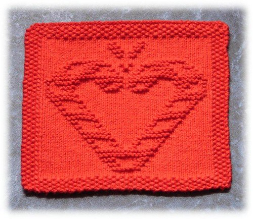 I like the idea of making a heart on this dishcloth, cute!