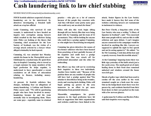 Cash Link to Law Chief Stabbing Scotland on Sunday 29 January 2006