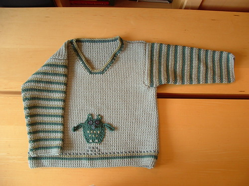 A crocheted owl sweater - I love it!  :)