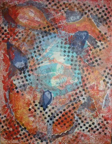 Collage on canvas by Lynne Medsker
