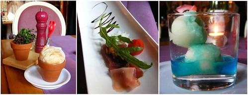 Brood in bloempotje met kiemkruiden, tuna disaster en appelsorbet met blue curacao