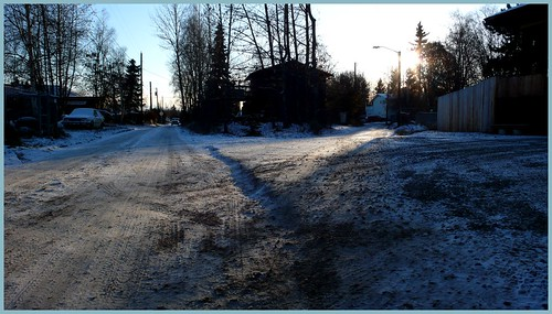 Confluence of two alleys, City View neighborhood, Anchorage.