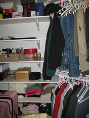 Organized and purged closet left side