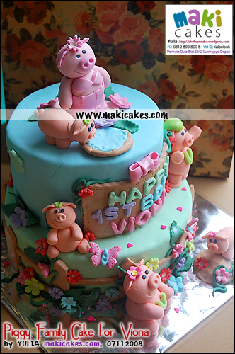 Piggy Family Cake for Viona___ - Maki Cakes