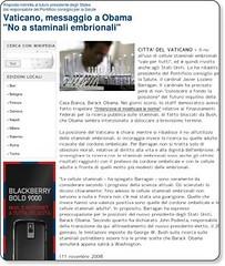 """Vaticano, messaggio a Obama """"No a staminali embrionali"""" - esteri - Repubblica.it"""
