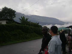 Ferdinand and Sam in front of Mount Cameroun.