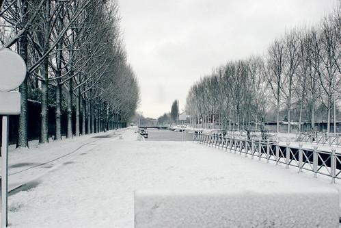 Roubaix sous la neige, le canal