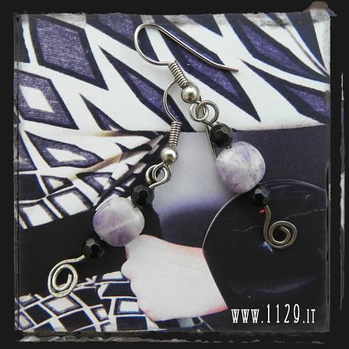 Orecchini viola nero - Black and purple earrings LHVINE