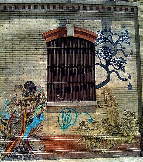 Defaced Street Art at 22nd Street & West Side Highway