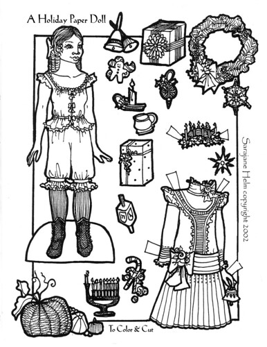 A Free Holiday Paper Doll To Print & Color
