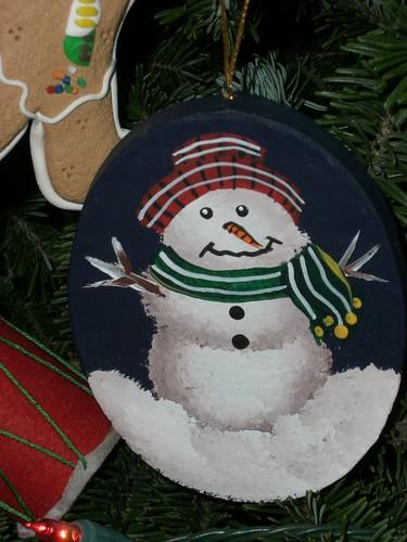 Blue snowman ornament