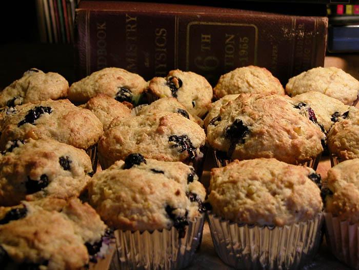 A dozen regular and a dozen teeny blueberry-corn muffins