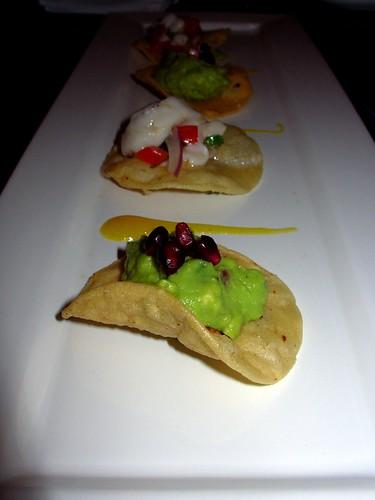 Guacamole, scallop ceviche, salsa de mango