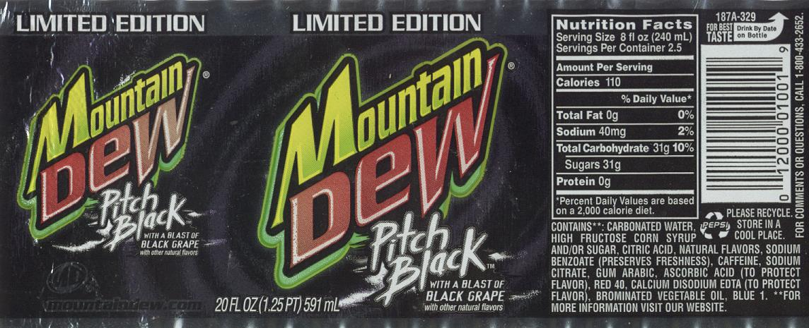 Mt Dew Pitch Black label