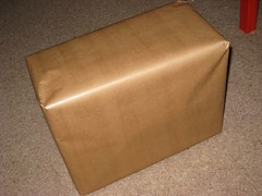 A brown paper wrapped box