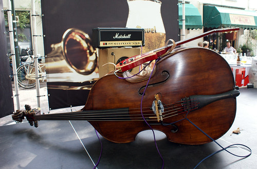 double bass with guitar on top front