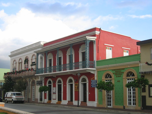 A row of colourful buildings in Cabo Rojo