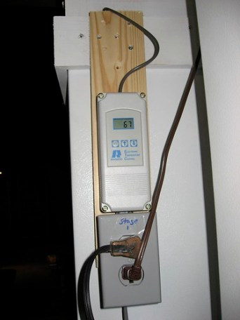 The 2 Stage Temperature controller.  The freezer is plugged into the top socket and the heat lamp into the bottom one.