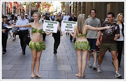 vegetarians taste better naked girls protest