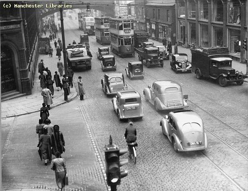 Trams on Oxford Rd, 1937