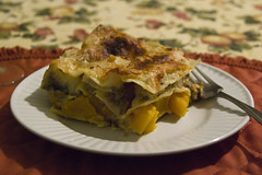 Lasagna with pumpkin, lamb and wild mushrooms