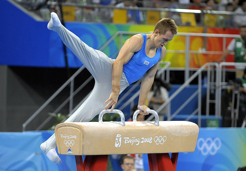 Enrico Pozzo (Italy) on the Pommel Horse.