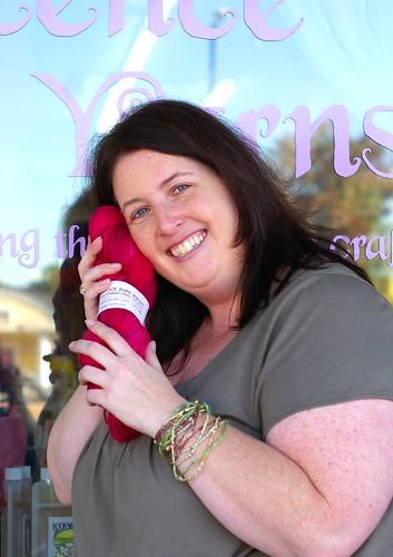 Carrie loving my yarn