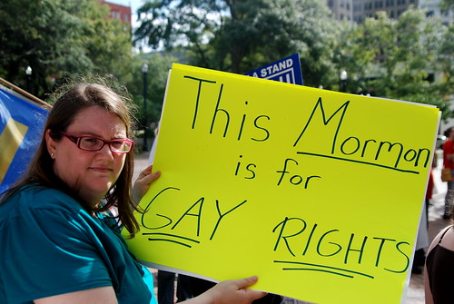 jen holding her 'this mormon is for gay rights' poster