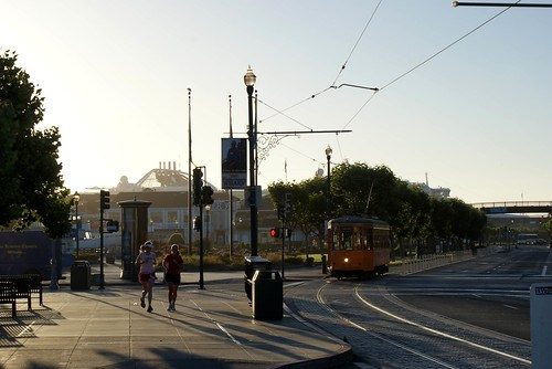 Joggers, Tram, Early morning at Fisherman's Wharf, San Francisco