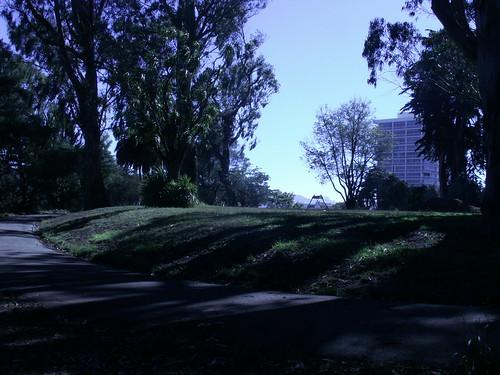 A labri, sur la partie la plus haute du parc
