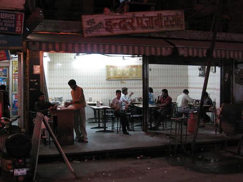 Locals-only cafe, 10 PM, Delhi