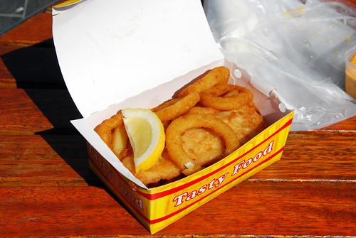 Calamari, fish and chips combo box