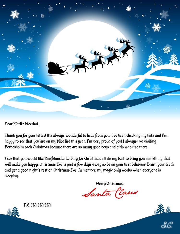 Moritz got a letter from Santa