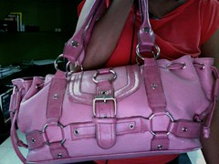 my bulky pink shoulder bag