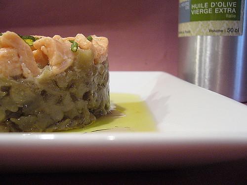 Tartare di salmone e melanzane