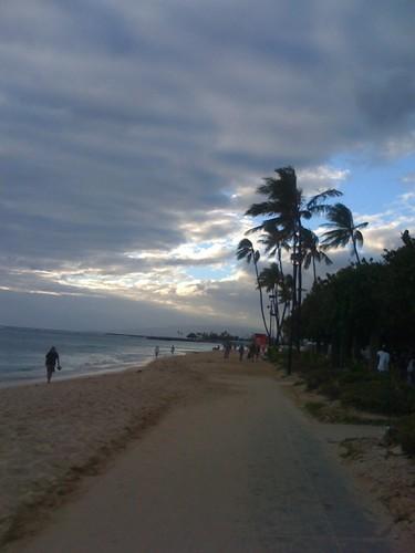 Waikiki Beach in the dusk