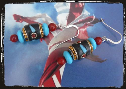 Orecchini turchese corallo - Turquosie and coral handmade earrings AMHFTCK