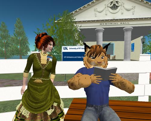 Wildcat reading on University of KY Island