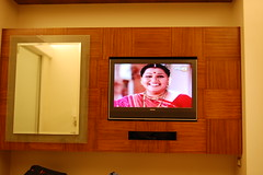 a hindi soap opera in the hotel room