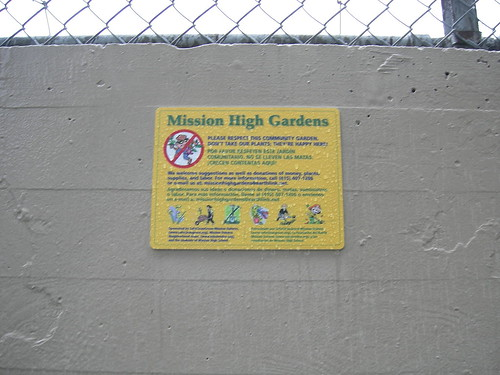Mission High Gardens sign