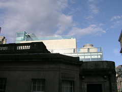Looking up at the Thermae Bath Spa from the street, Bath, UK