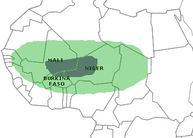 Traditiona Azawakh range in grey and my expanded search area in green.