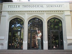 Liza in front of Fuller Theological Seminary