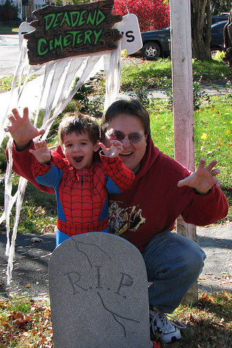 Bug and Daddy as scary monsters