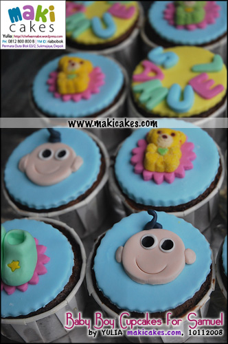 Baby Boy Cupcakes for Samuel_Baby's Face - Maki Cakes